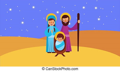 happy merry christmas animation with holy family