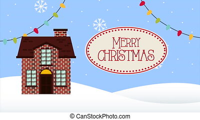 happy merry christmas animation with house in snowscape