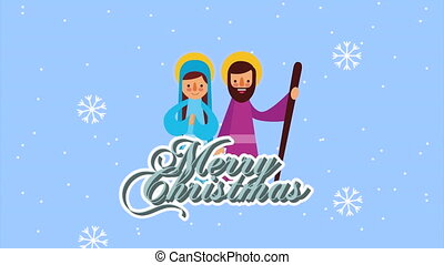 happy merry christmas animation with joseph and mary
