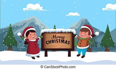 happy merry christmas animation with kids couple in snowscape