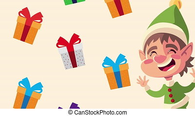 happy merry christmas animation with little elf and gifts