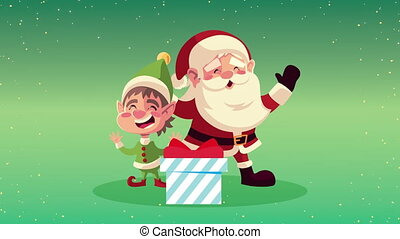 happy merry christmas animation with little santa and elf