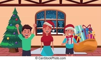 happy merry christmas animation with little young kids