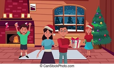 happy merry christmas animation with parents couple and kids