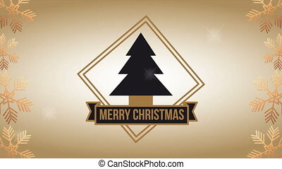 happy merry christmas animation with pine tree