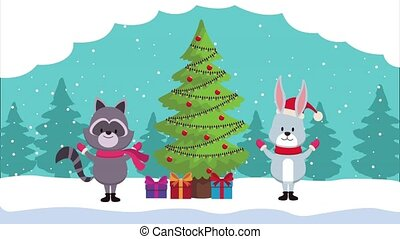 happy merry christmas animation with rabbit and raccon in pine tree ,4k video animated