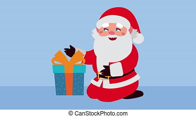 happy merry christmas animation with santa claus and giftbox ,4k video animated