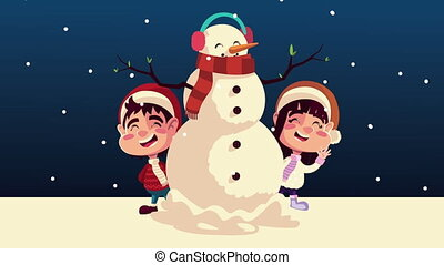 happy merry christmas animation with snowman and kids couple
