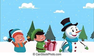 happy merry christmas animation with snowman and little kids