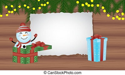 happy merry christmas animation with snowman in wooden background