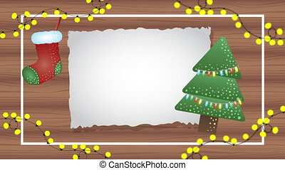 happy merry christmas animation with tree in wooden background
