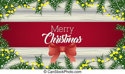 happy merry christmas animation with wreath in wooden background