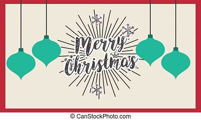 happy merry christmas card with balls hanging ,hd video...
