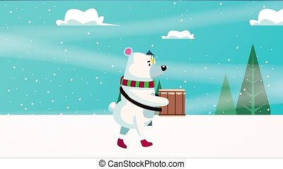 happy merry christmas card with bear playing drum ,4k video animation