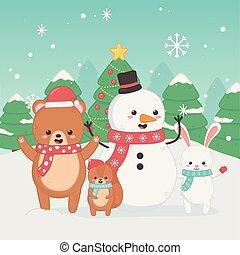 happy merry christmas card with bear teddy