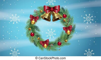 happy merry christmas card with bells in wreath crown and snowflakes ,4k video animation