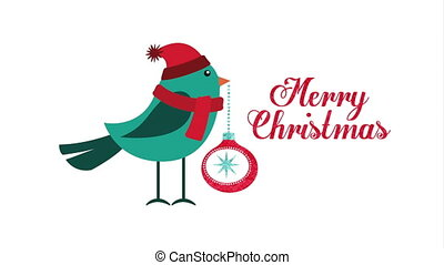 happy merry christmas card with cute bird ,hd video...