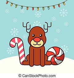 happy merry christmas card with cute deer