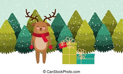 happy merry christmas card with cute reindeer ,hd video...