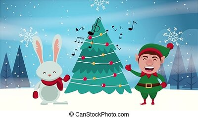 happy merry christmas card with elf and rabbit ,4k video animation
