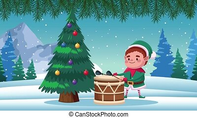 happy merry christmas card with elf playing drum ,4k video animation