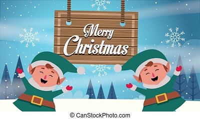 happy merry christmas card with elfs characters and wooden label ,4k video animation