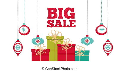 happy merry christmas card with gifts and balls ,hd video...