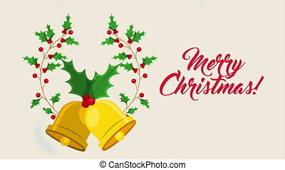 happy merry christmas card with leafs crown and bells ,hd...