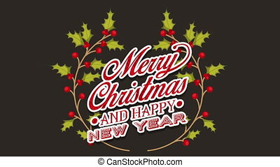 happy merry christmas card with leafs crown ,hd video...