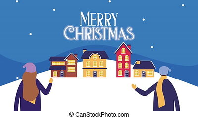 happy merry christmas card with people in snowscape