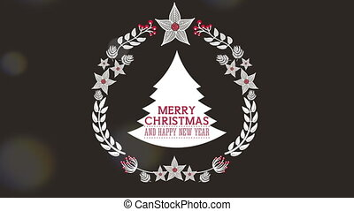 happy merry christmas card with pine tree and crown ,hd...