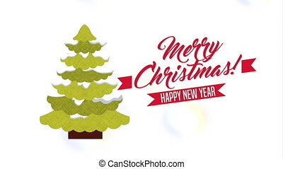 happy merry christmas card with pine tree ,hd video...