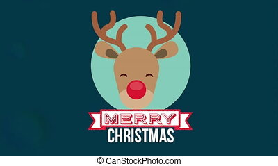 happy merry christmas card with reindeer head ,hd video...