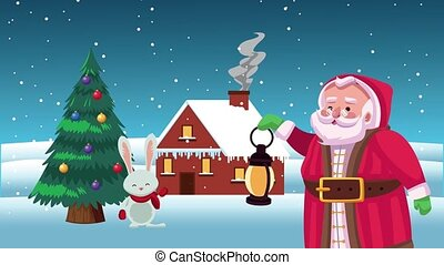 happy merry christmas card with santa claus and rabbit ,4k video animation