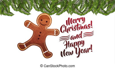 happy merry christmas card with sweet ginger cookie ,hd...