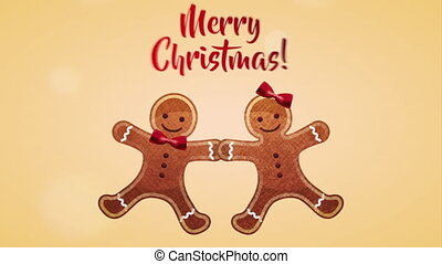 happy merry christmas card with sweet ginger cookies ,hd...