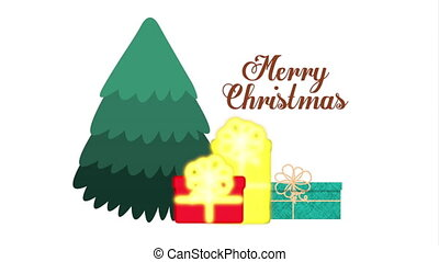 happy merry christmas card with tree and gifts ,hd video...