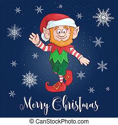 Happy Merry Christmas Cartoon elf character. Vector