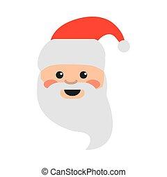 happy merry christmas, cute santa claus face cartoon, celebration festive flat icon style