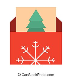 happy merry christmas, envelope with greeting card, celebration festive flat icon style