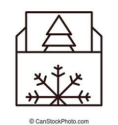 happy merry christmas, envelope with greeting card, celebration festive linear icon style