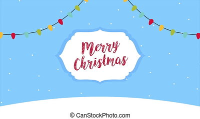 happy merry christmas frame with calligraphy and lights ,4k ...