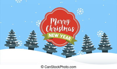 happy merry christmas frame with calligraphy in snowscape ,...