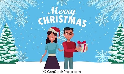 happy merry christmas lettering animation with couple in snowscape
