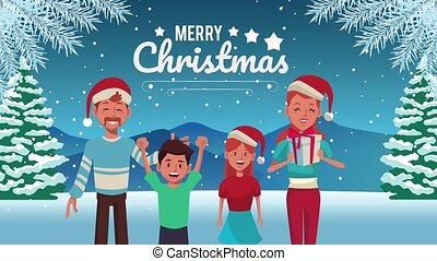happy merry christmas lettering animation with family wearing santa hat