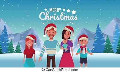 happy merry christmas lettering animation with family wearing santa hat in snowscape
