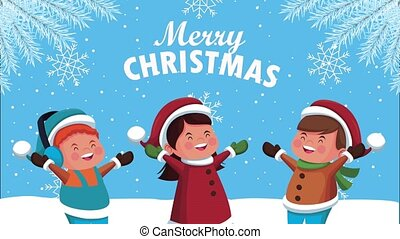 happy merry christmas lettering animation with little kids in snowscape