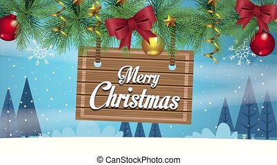 happy merry christmas lettering card with label in wreath ,4k video animation