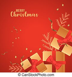 happy merry christmas lettering red card with golden gifts