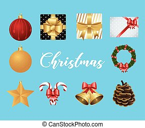 happy merry christmas lettering with set icons